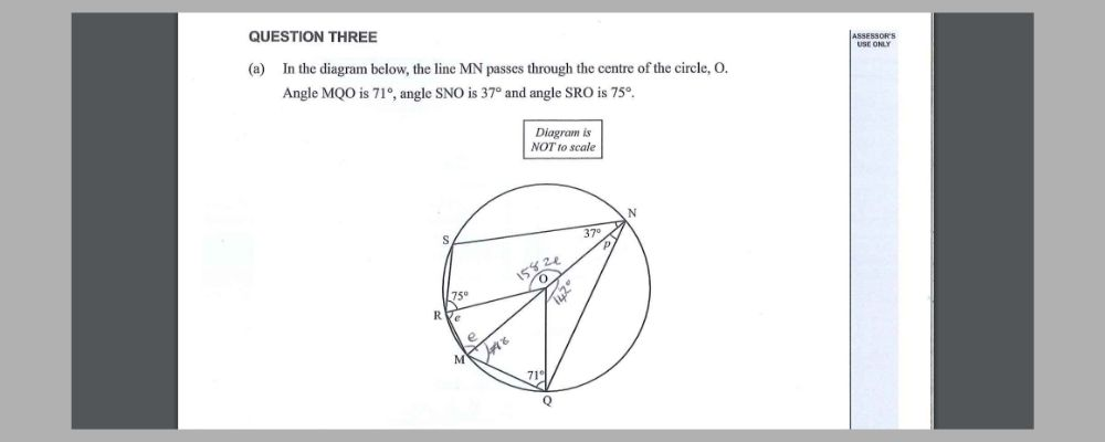 NCEA Maths Level 1 geometric reasoning angles within circles.