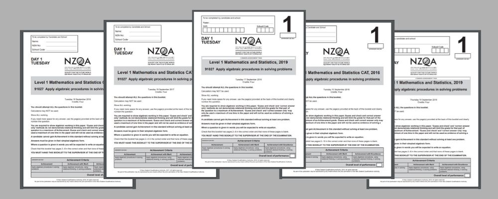 NCEA Level 1 Maths algebra past papers